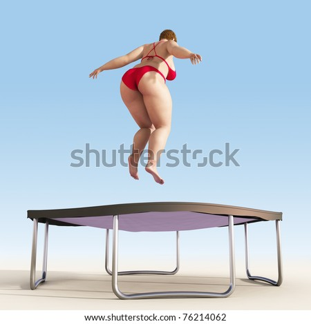 overweight woman jump on trampoline - stock photo