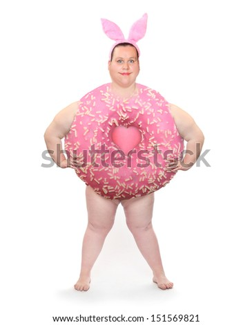 Overweight woman or Big sweet donut with rabbit ears. - stock photo