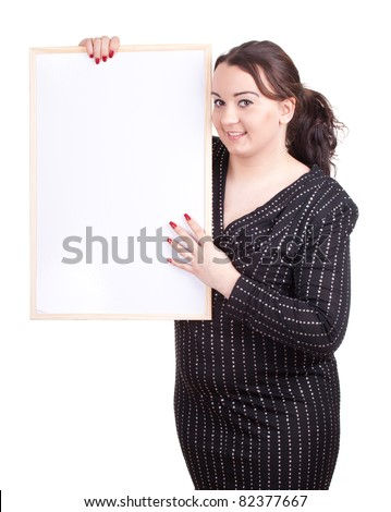overweight, woman with blank sign, billboard - stock photo