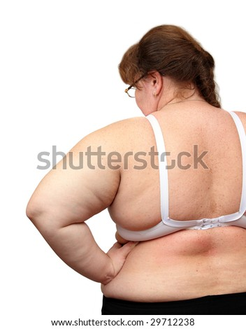 overweight women from behind isolated on white - stock photo