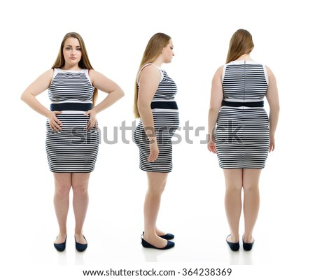 Overweight young woman, full length portrait. Front, side and back view, over white background. - stock photo