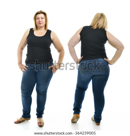 Overweight young woman wearing sportwear, full length portrait. Front and back view, over white background. - stock photo