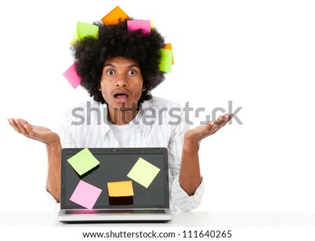 Overwhelmed afro man with post it notes - isolated over a white background - stock photo