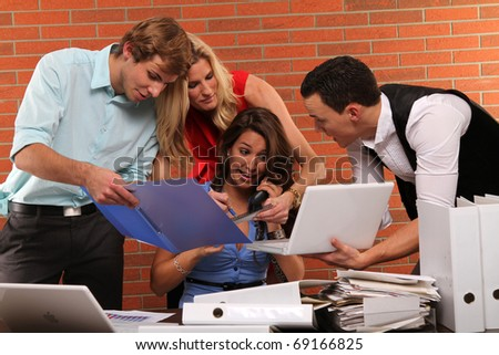 overwhelmed at the office - stock photo