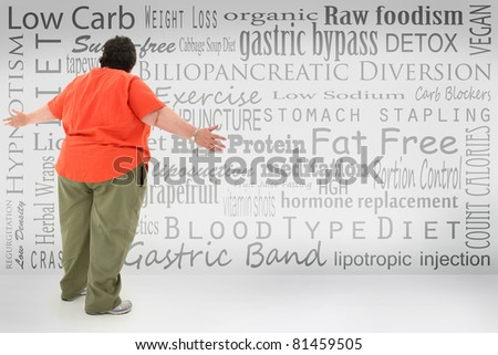 Overwhelmed obese woman looking at list of fad diets and surgical weight loss methods  written on wall. - stock photo