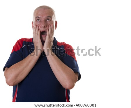 Overwhelmed single middle aged man with hands on face, mouth wide open and eyes rolling up over white background