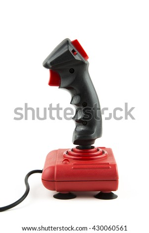 overwhite portrait of a vintage joystick with cable / isolated joystick - stock photo