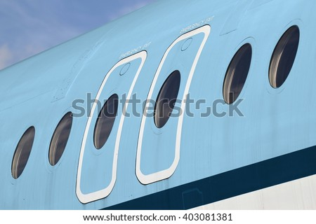 overwing emergency exits of an airliner