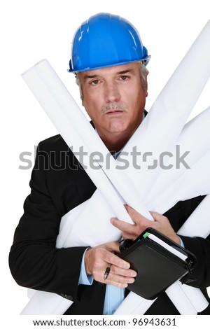 Overworked entrepreneur - stock photo