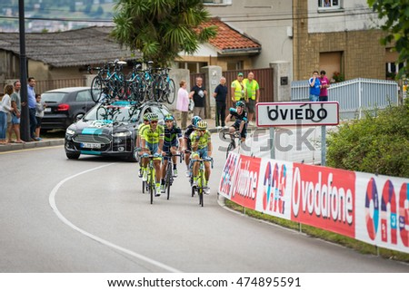 OVIEDO, SPAIN - AUGUST 28: Unknown racers on the competition Tour of Spain (La Vuelta) on August 28, 2016 in Oviedo, Spain.