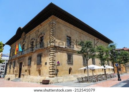 OVIEDO, SPAIN - JULY 17, 2014: Justice tribunal building in the center of Oviedo, Asturias, Spain, at the Plaza Porlier.