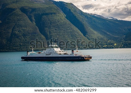 OVRE ARDAL, NORWAY-JULY 13:  Ferryboat 13, 2016 in Ovre Ardal, Norway. Travel by ferry on a Norway Fjord.