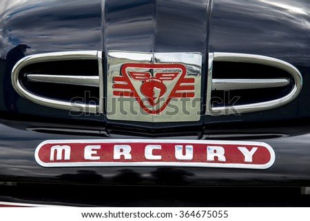 OWEN SOUND, ONTARIO - 09/13/2015: Vintage Mercury Truck Black Front Grill and Logo - 2015 Concours D'Elegance