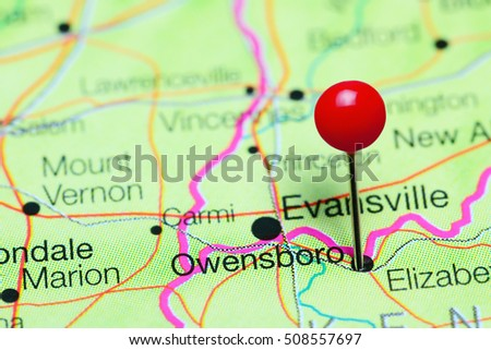 Owensboro Pinned On Map Kentucky USA Stock Photo Royalty Free