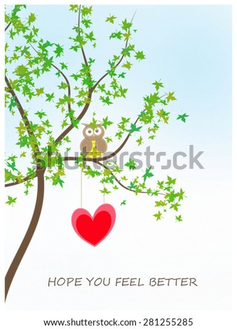 Owl and Heart - Hope You Feel Better - stock photo