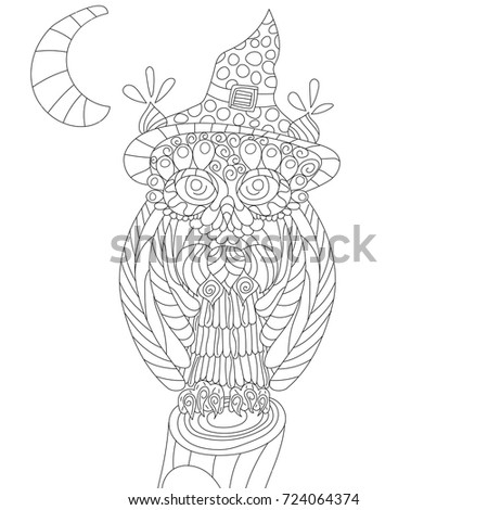 Owl Anti Stress Coloring Book Adult Stock Illustration 724064374 ...