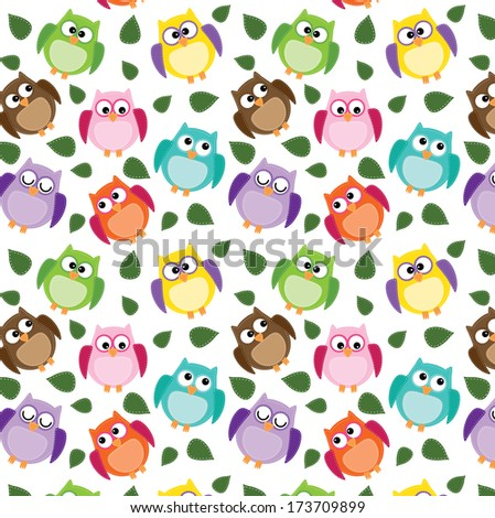 owl background  with leaves on an isolated white background 12x12 for scrapbooking - stock photo