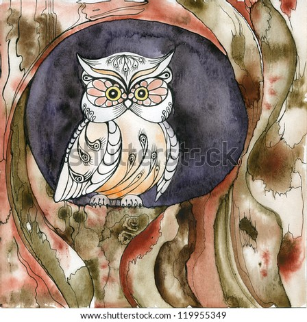 Owl, bird, tree - stock photo
