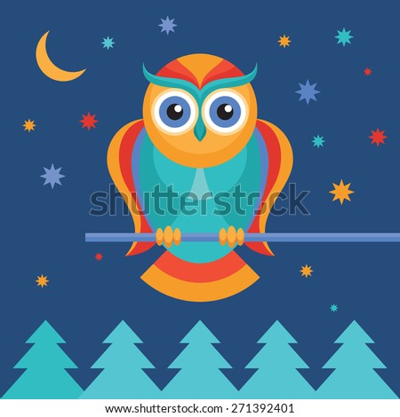Owl color illustration in flat style. Bird owl. - stock photo