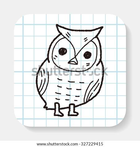 owl doodle - stock photo
