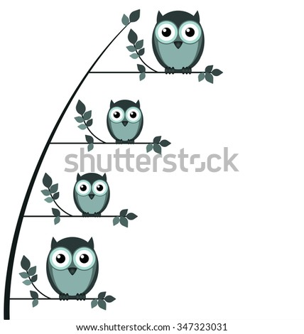 Owl family perched on a tree with copy space isolated on white background