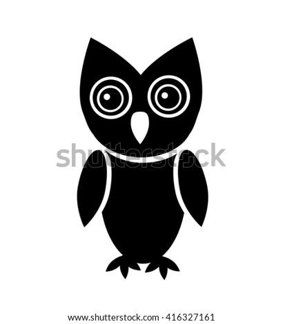 Owl icon isolated on white background. - stock photo