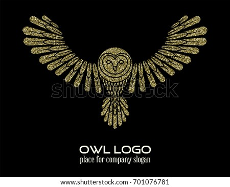Simple Elegant Line Art : Owl logo line art template orange stock illustration