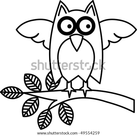 Owl on a Branch - stock photo