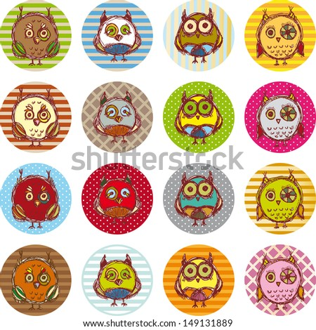 owl set, cute owls, bird