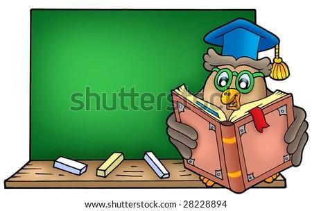 Owl teacher reading book on blackboard - color illustration. - stock photo