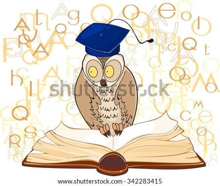 Owl with graduation cap and open book - stock photo