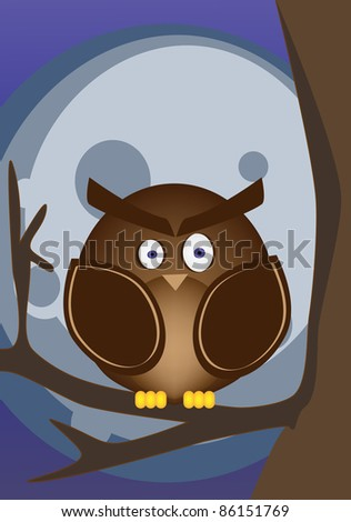 Owl with the full moon in background - stock photo