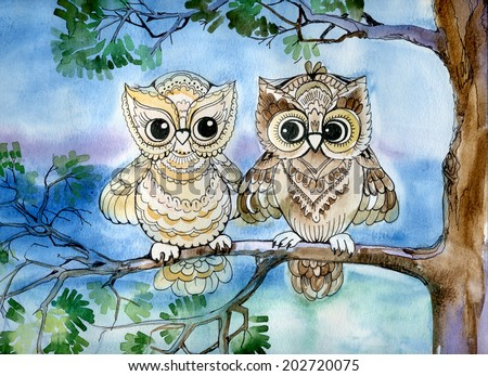Owls - stock photo