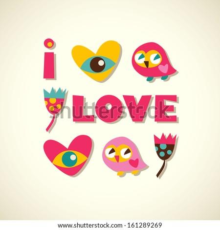 Owls cartoon greeting card - stock photo