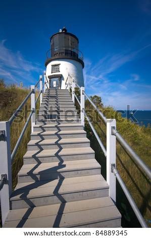 Owls Head Lighthouse, Owls Head Maine - stock photo