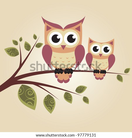 Owls on the tree. Raster version. - stock photo