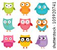 Owls set, JPG version - stock photo
