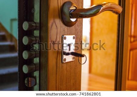 Own housing own territory security safe house. A steel door with a & Inside Door Lock Key Door Ajar Stock Photo 742623853 - Shutterstock