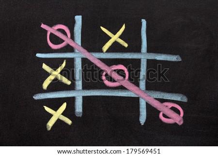 OX game on chalkboard - stock photo