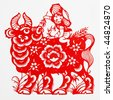 ox,The paper cutting. The Chinese Zodiac. - stock photo
