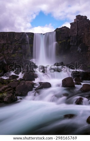 Oxarafoss waterfall. Part of Thingvellir National Park, Iceland - stock photo