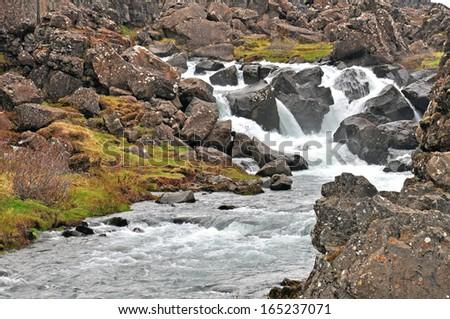 oxararfoss waterfall, iceland - stock photo