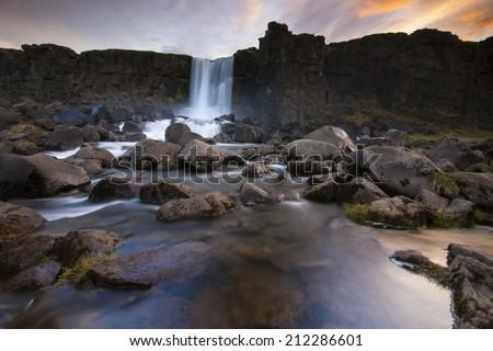 Oxararfoss waterfall in Thingvellir, Iceland./ Oxararfoss waterfall - stock photo