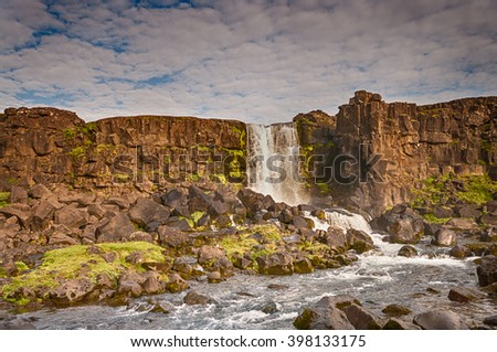 Oxararfoss waterfall, Pingvellir National Park, Iceland - stock photo