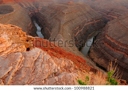 Oxbow curves of the San Juan River in Gooseneck State Park, Utah