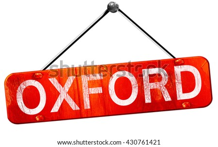 oxford, 3D rendering, a red hanging sign