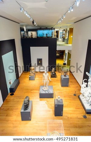 OXFORD, ENGLAND - JUL 10, 2016: Interior of the Ashmolean Museum of Art and Archaeology, Beaumont Street, Oxford, England, is the first university museum of the world