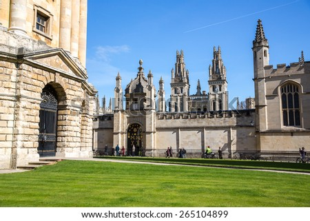 Oxford, England - March 21: View of the old city center in Oxford, England on March 21, 2015.