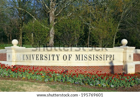OXFORD, MS � APRIL 11: An entrance to the University of Mississippi located in Oxford, Mississippi on April 11, 2014. The University of Mississippi is a public research university founded in 1848. - stock photo