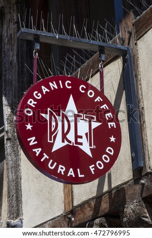 OXFORD, UK - AUGUST 12TH 2016: The sign for a Pret A Manger outlet in the city of Oxford, on 12th August 2016.